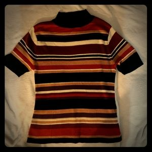 Retro striped mockneck